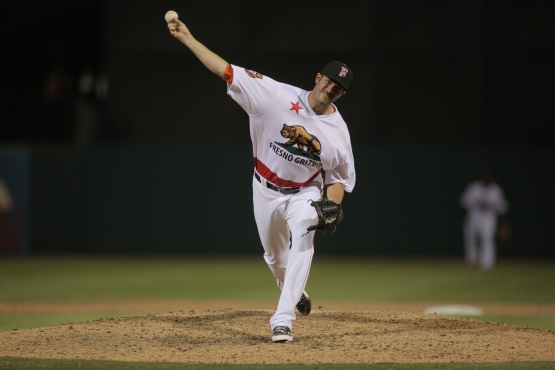 Hoyt tosses a scoreless inning in his debut for the Grizzlies on Saturday, April 11 (photo by James Ramirez)