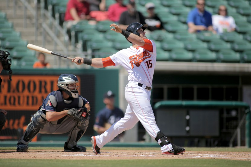 Preston Tucker brings a hitting proficiency that ranks among the best in Fresno Grizzlies history during a single month (photo by James Ramirez)