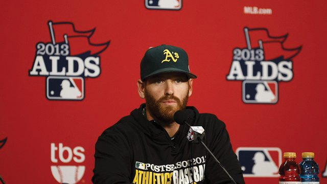 Straily speaks to the media after earning a no decision against the Detroit Tigers in the 2013 ALDS