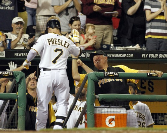 Presley batted .261 (171-656) with 28 doubles, 14 triples, 16 home runs, 49 RBI and 19 stolen bases in 204 games with Pittsburgh from 2010-13
